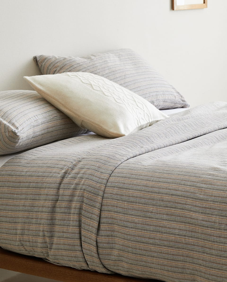 DUVET COVER WITH MULTICOLOURED STRIPES