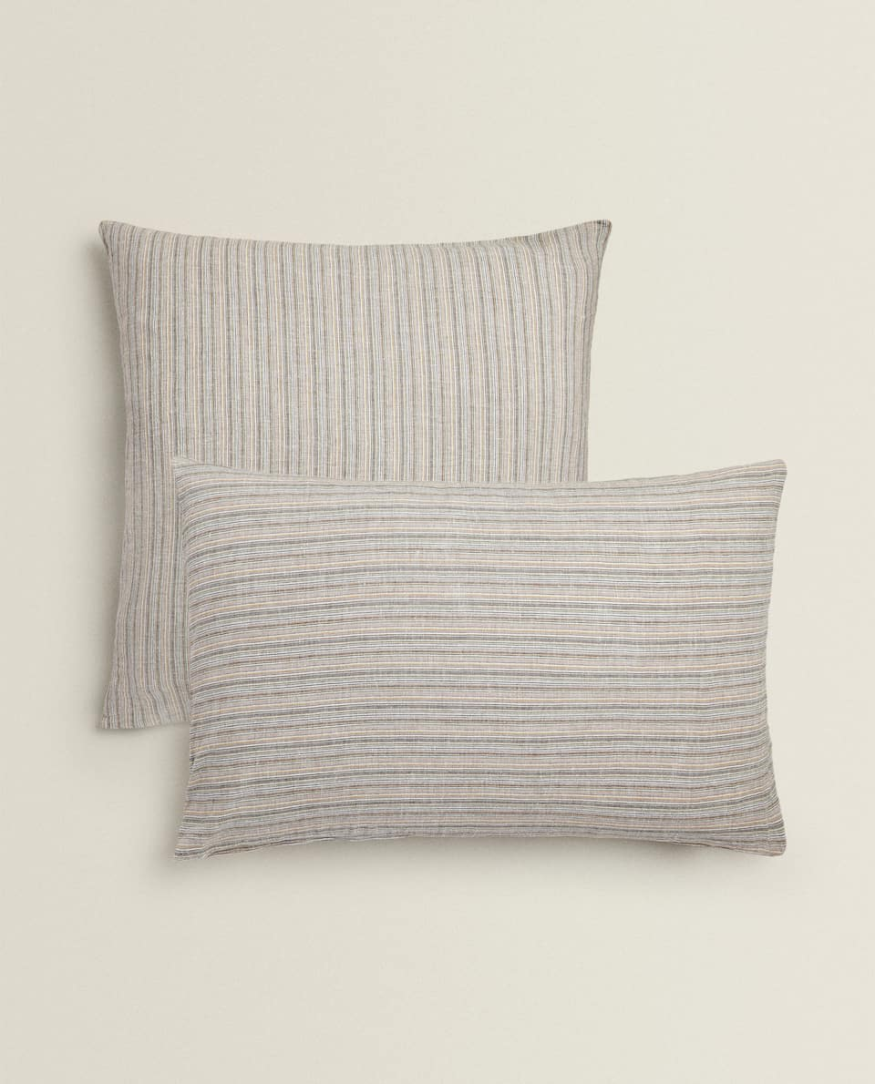PILLOWCASE WITH MULTICOLOURED STRIPES