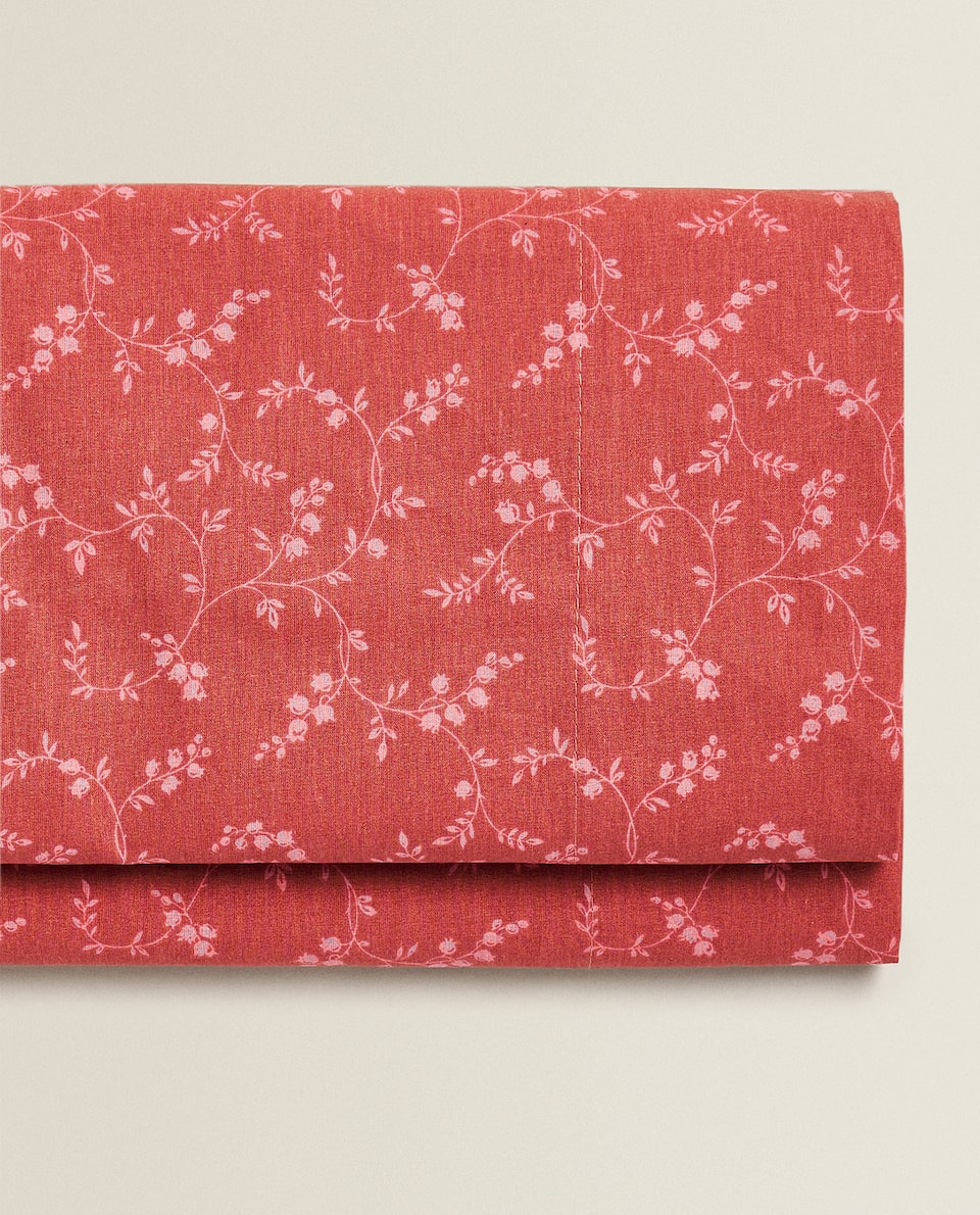 FLAT SHEET WITH CONTRAST FLORAL PRINT