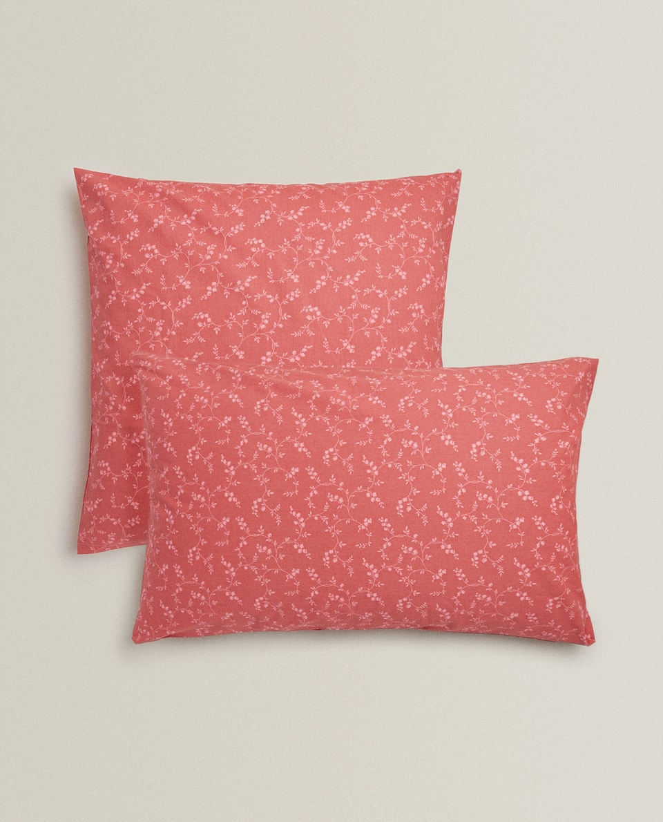PILLOWCASE WITH CONTRAST FLORAL PRINT
