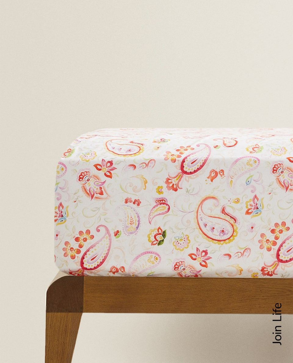 FLORAL PRINT FITTED SHEET