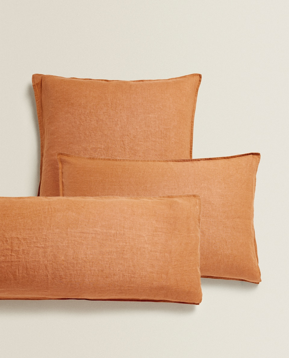 TERRACOTTA LINEN PILLOWCASE