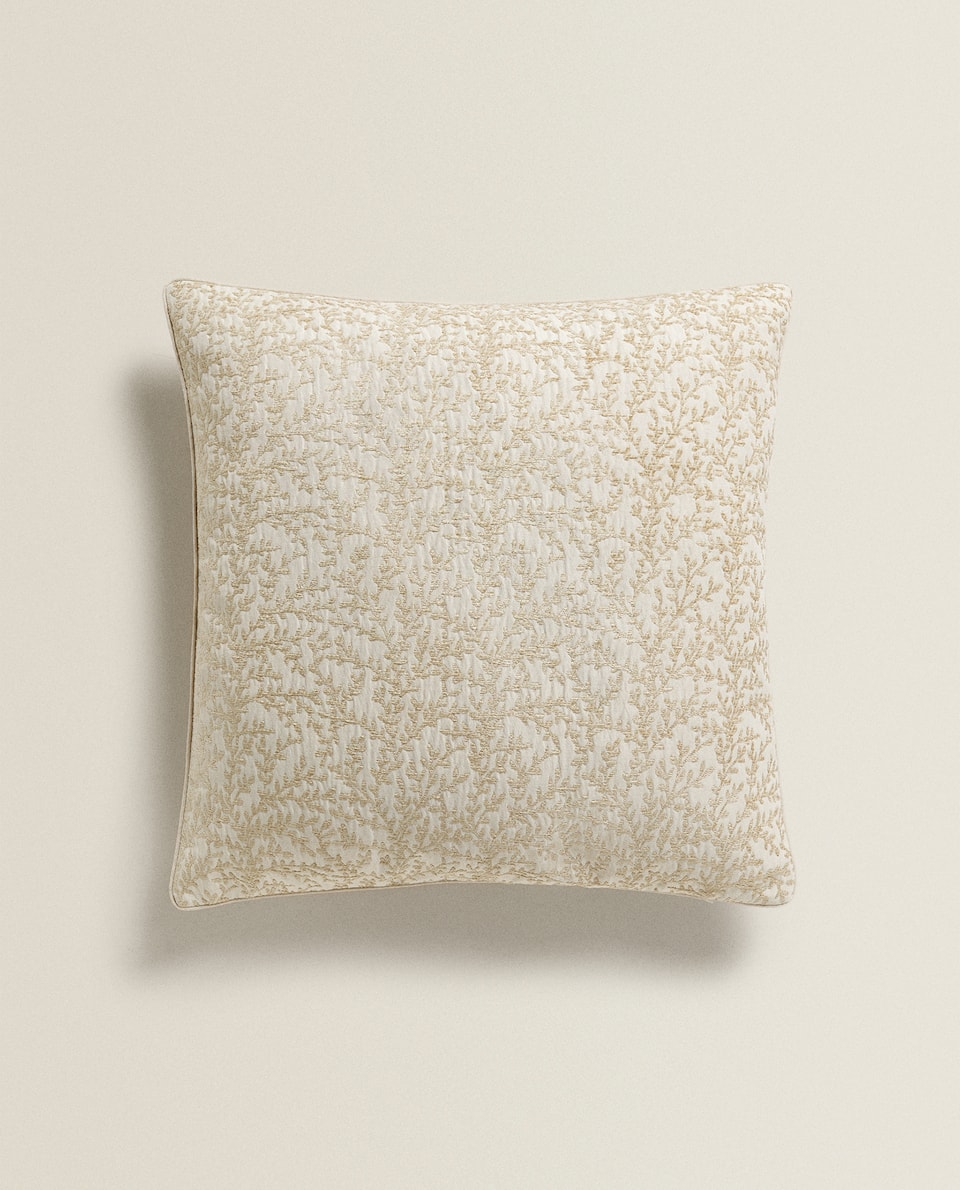 JACQUARD LEAF CUSHION COVER