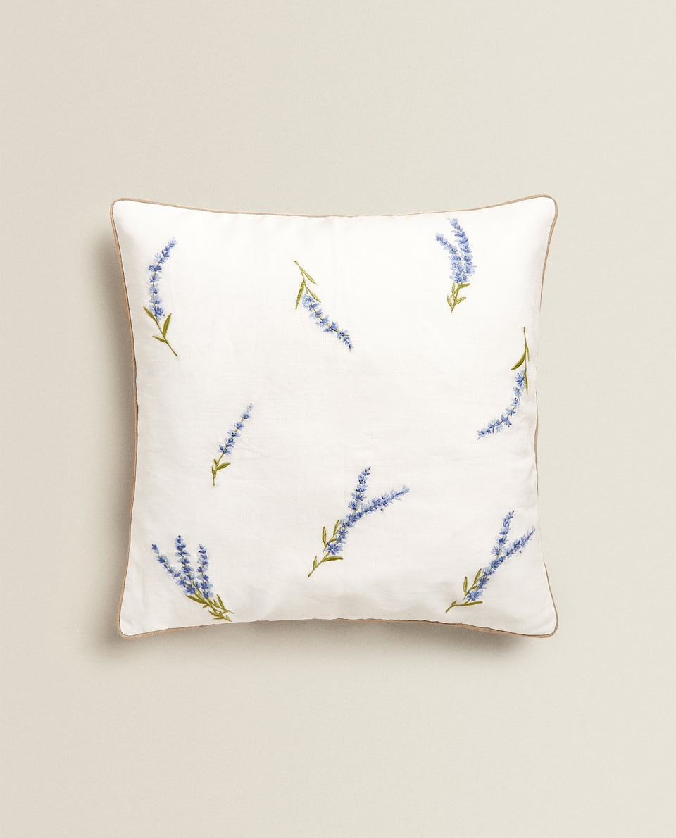 LAVENDER PRINT LINEN CUSHION COVER