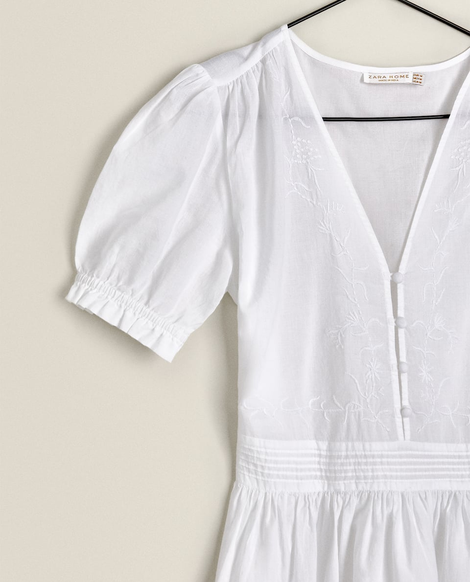 EMBROIDERED NIGHTDRESS WITH BUTTONS