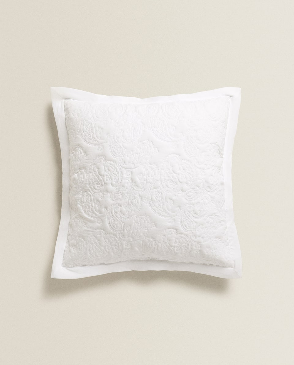 RAISED-DESIGN DAMASK CUSHION