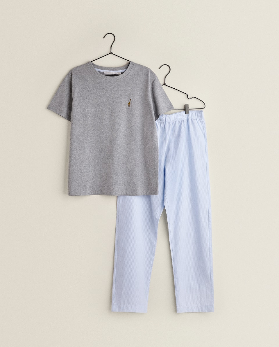 GRAY AND STRIPED SET OF PAJAMAS