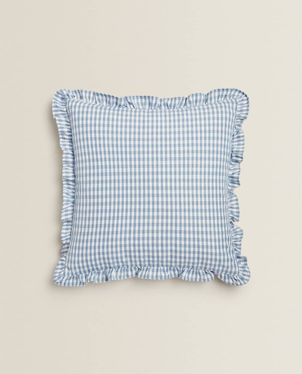 CHECKED CUSHION COVER WITH RUFFLES