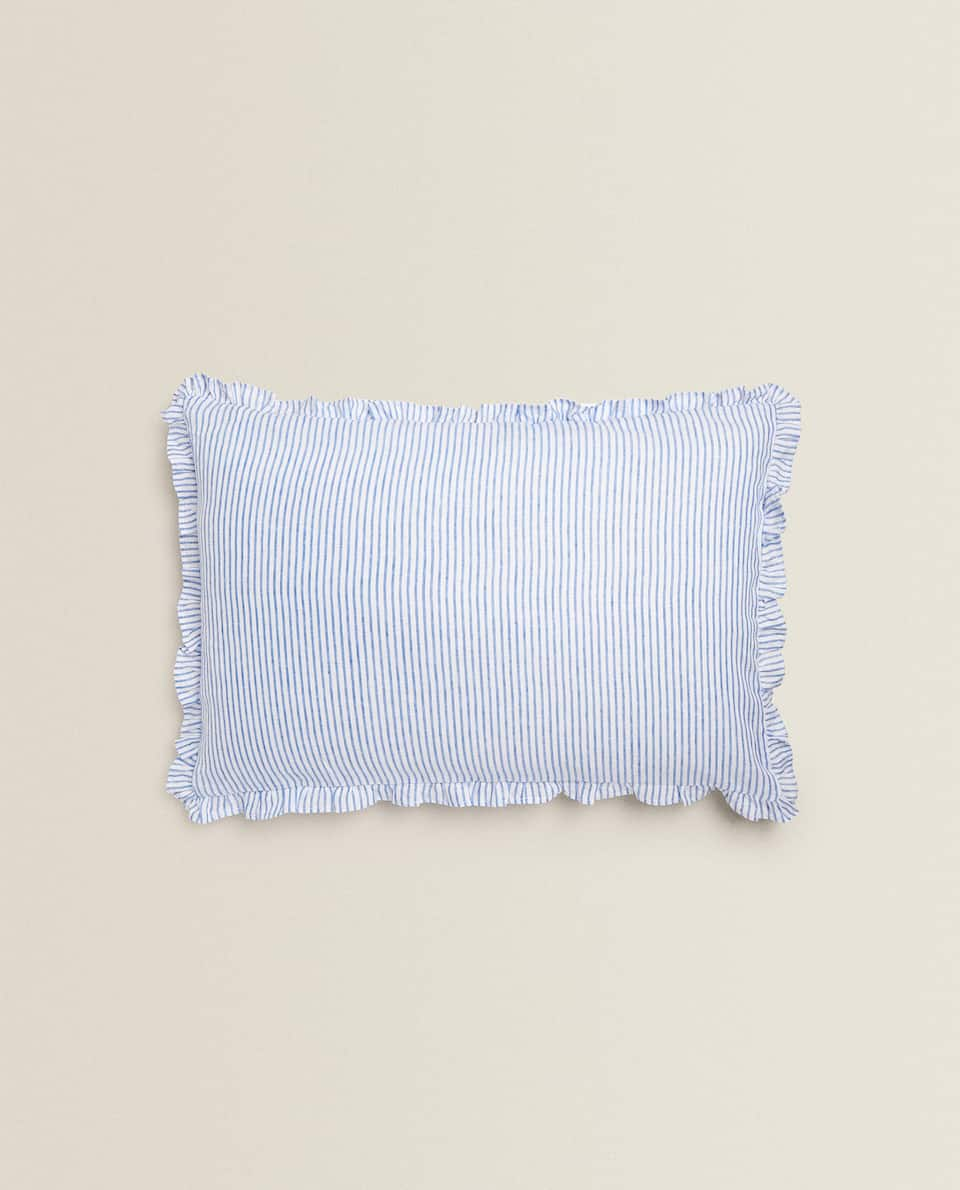 STRIPED CUSHION COVER WITH RUFFLES