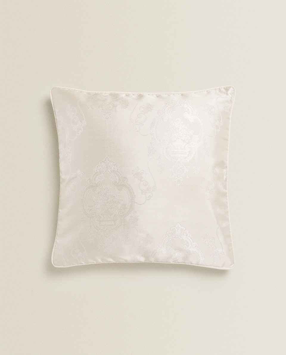 EMBROIDERED JACQUARD THROW PILLOW