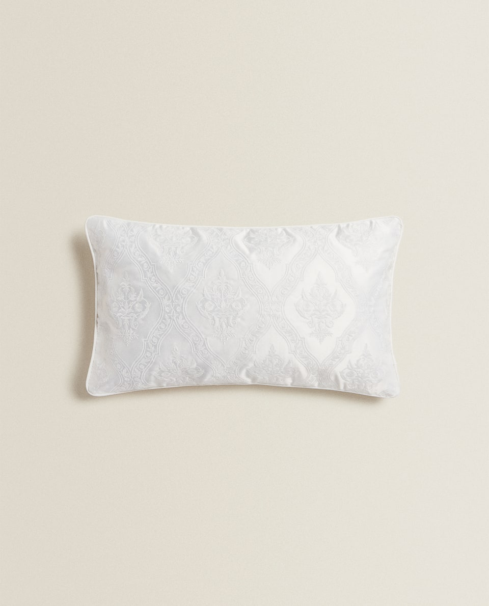 EMBROIDERED SATEEN CUSHION COVER