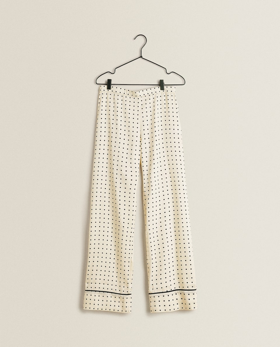 DOTTED SATIN TROUSERS