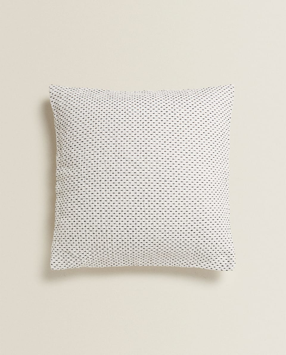 TOPSTITCHED COTTON CUSHION COVER