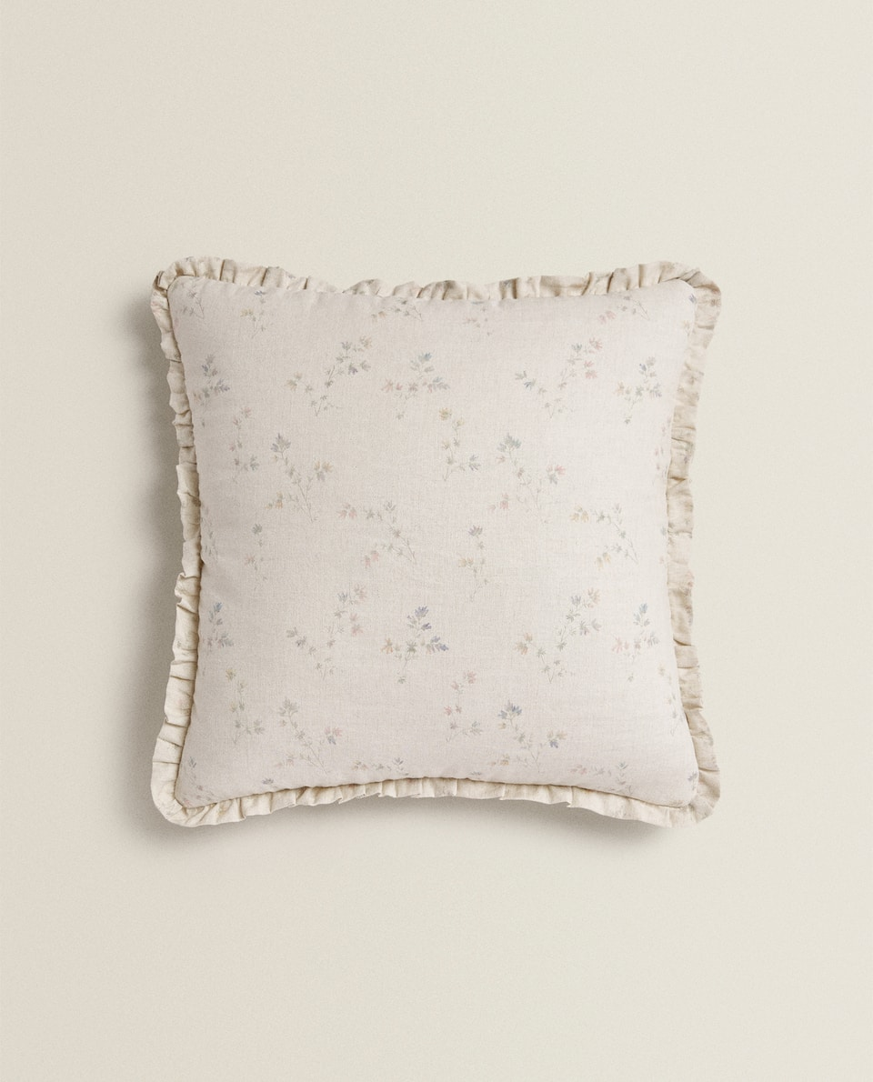 PRINTED LINEN THROW PILLOW