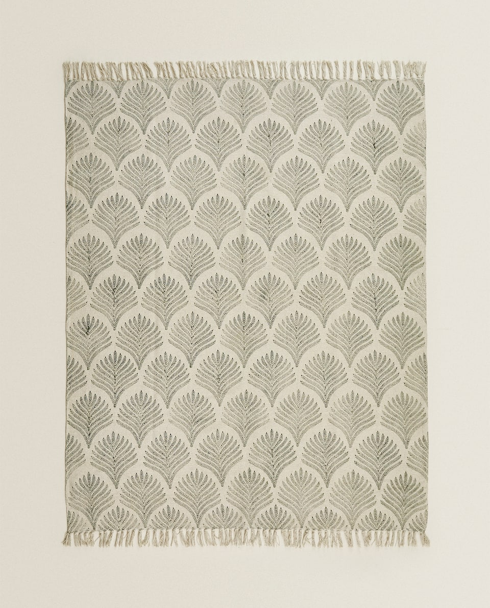 PALM LEAF PRINT COTTON RUG