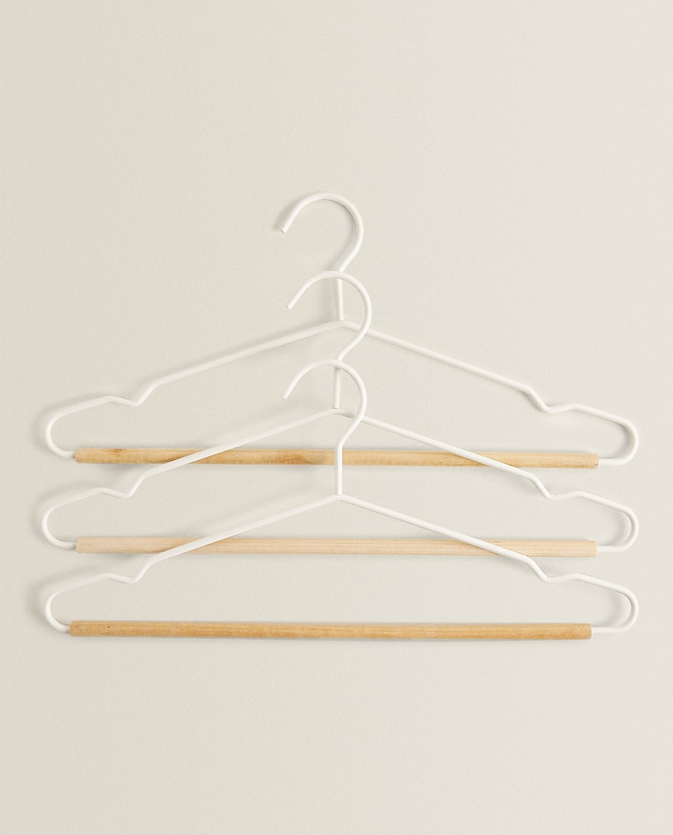 WOOD AND METAL HANGER (SET OF 3)