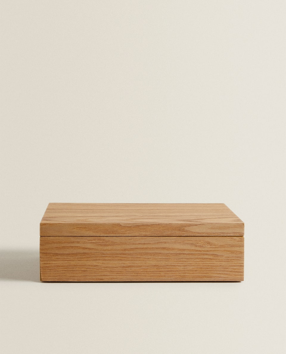 WOODEN JEWELLERY BOX WITH LINEN INTERIOR