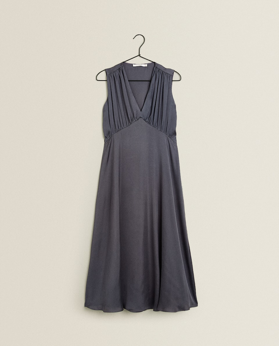 GREY SATEEN NIGHTDRESS