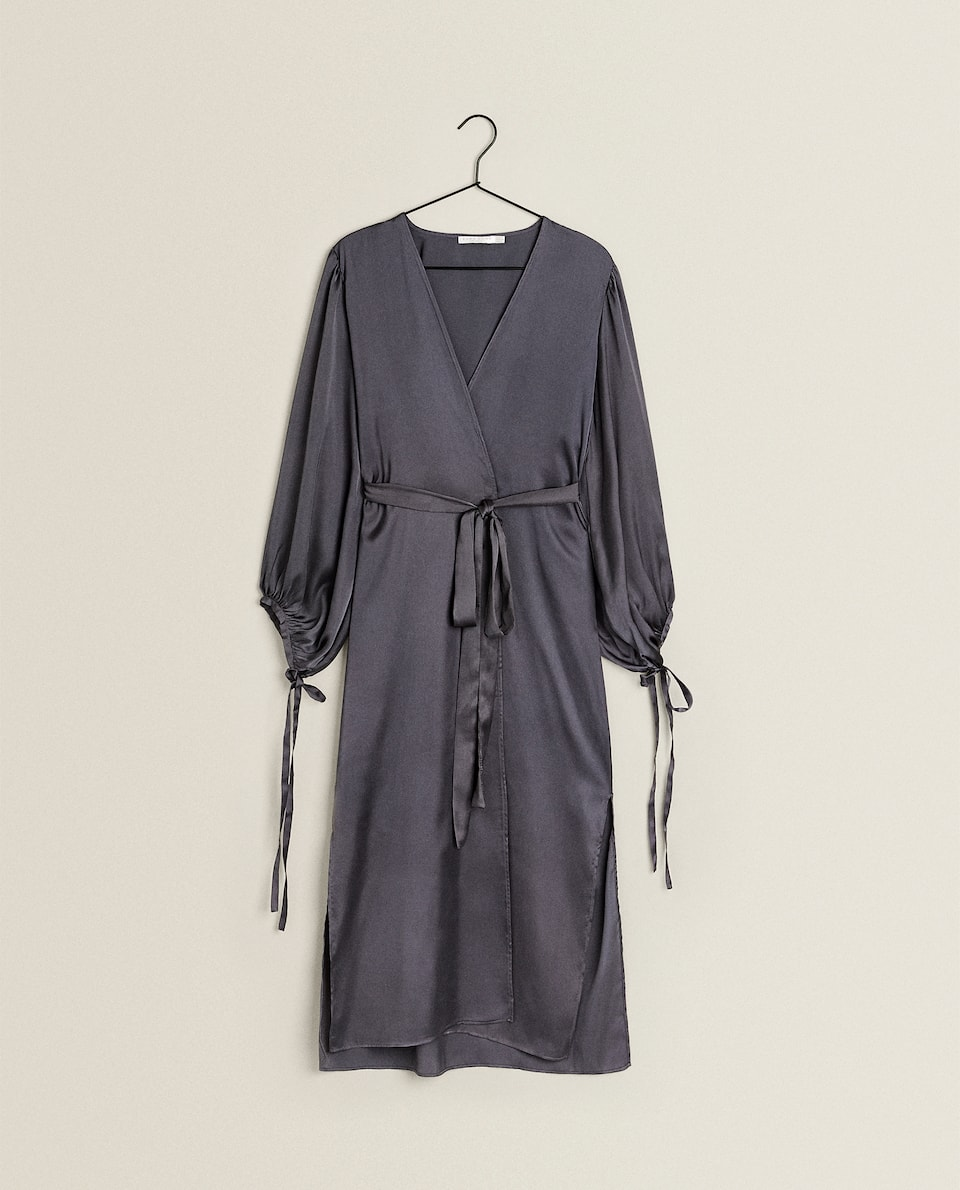 GREY SATEEN DRESSING GOWN