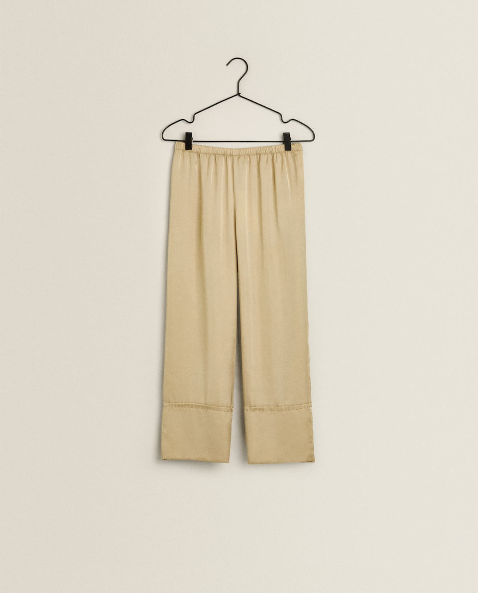 SATEEN TROUSERS WITH TOPSTITCHING