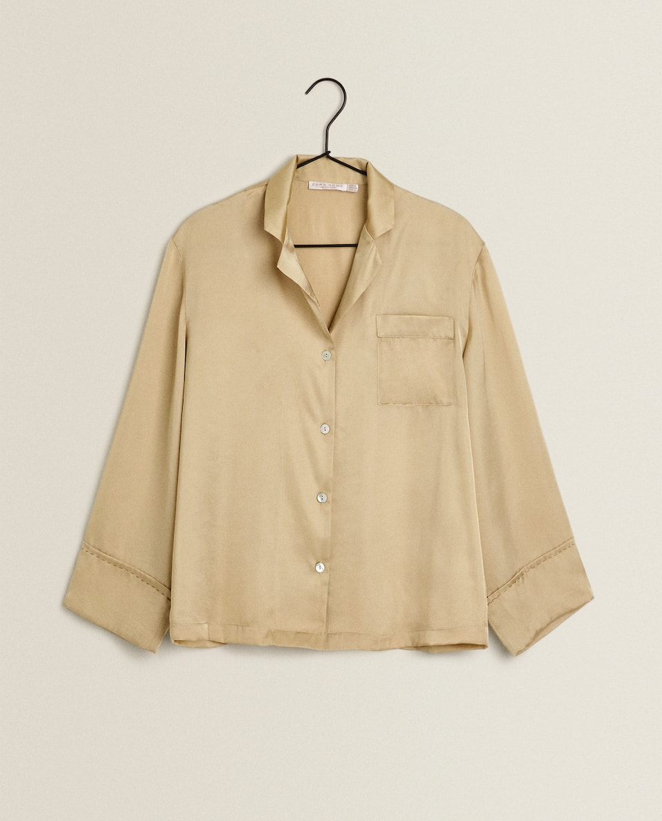 SATEEN SHIRT WITH TOPSTITCHING