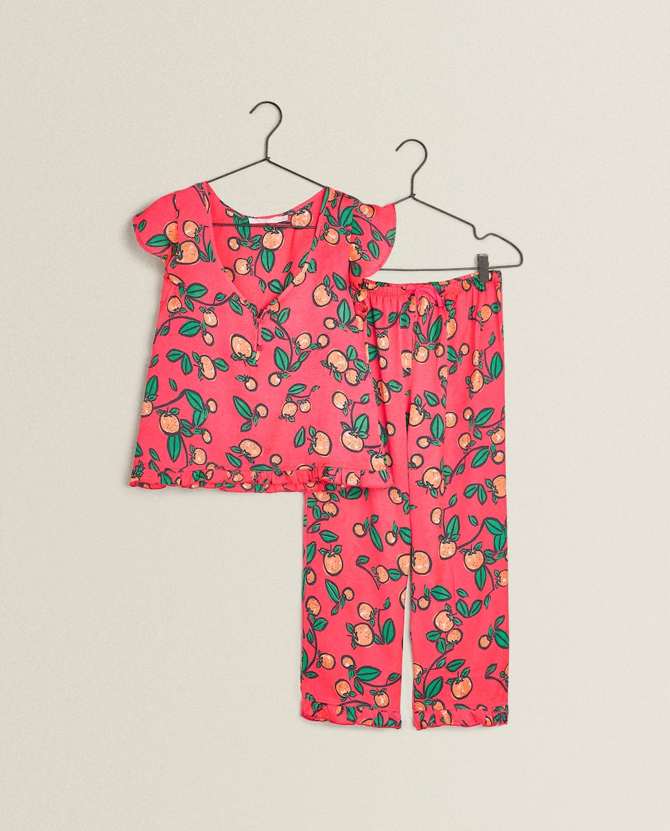 RUFFLED SATEEN PYJAMAS
