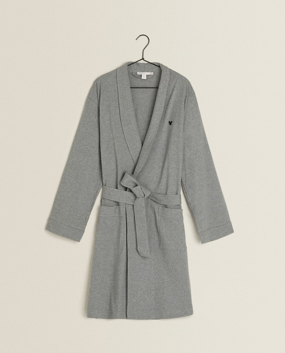 GRAY MICKEY MOUSE BATHROBE