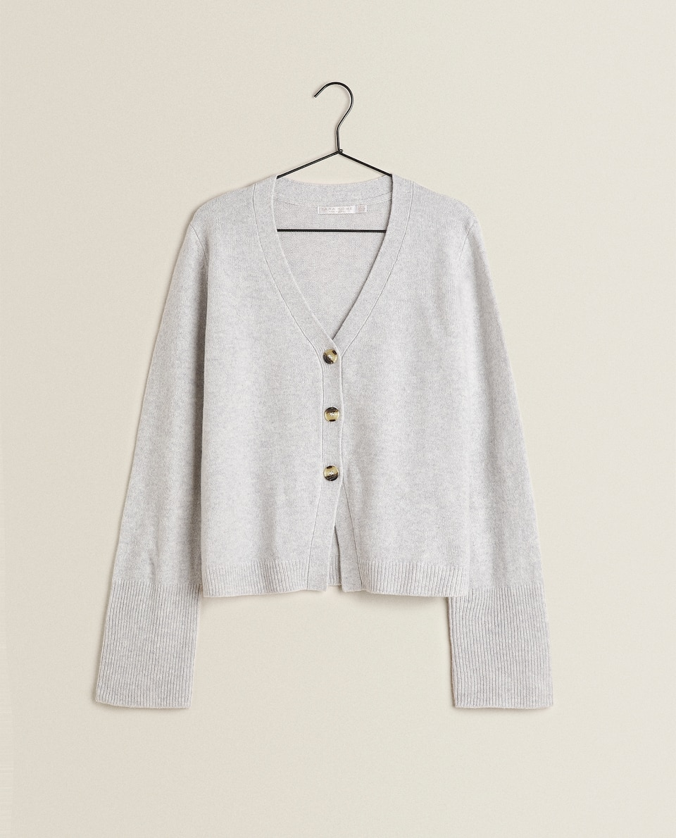 KNIT BUTTON-UP CARDIGAN