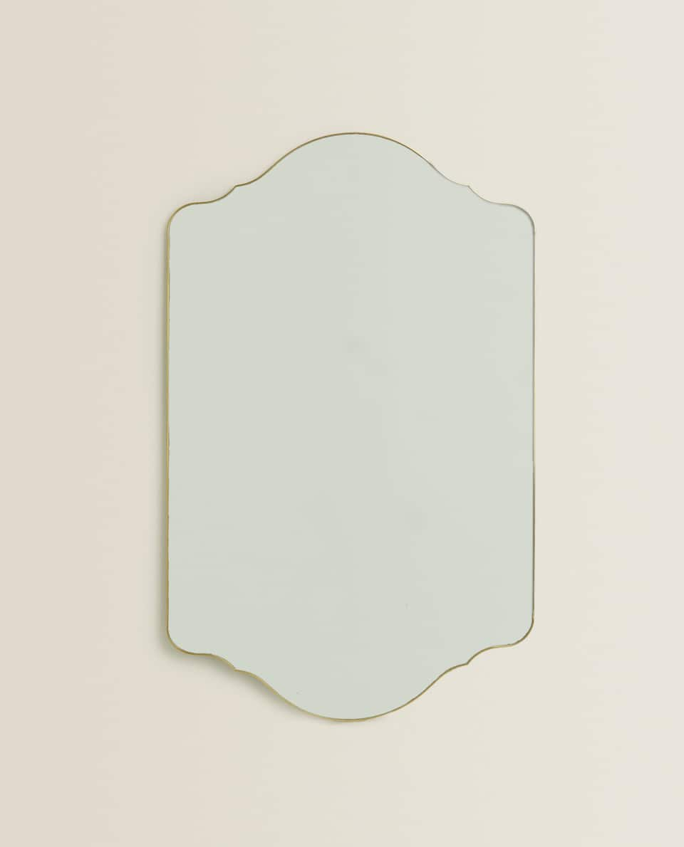 SYMMETRICAL GOLD FRAME MIRROR