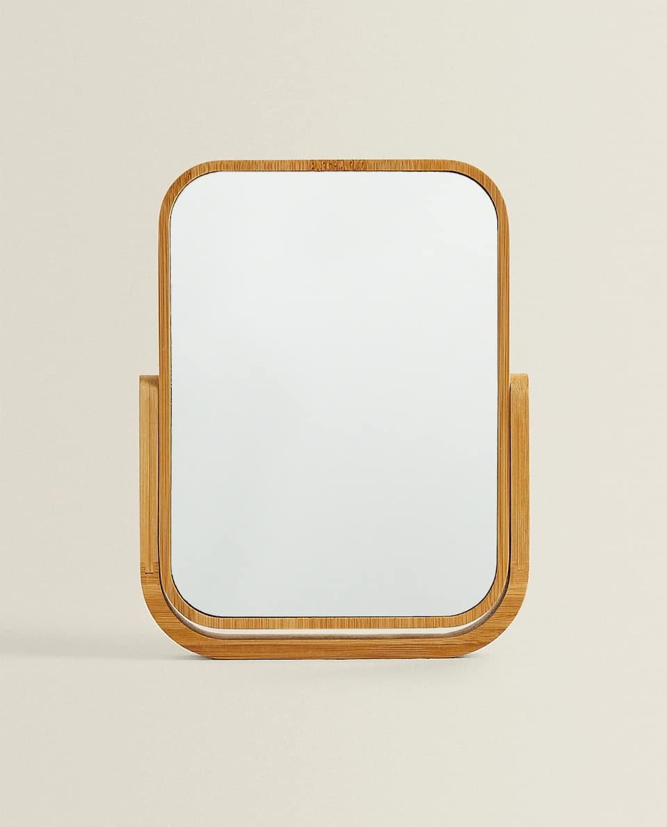WOODEN MIRROR WITH STAND