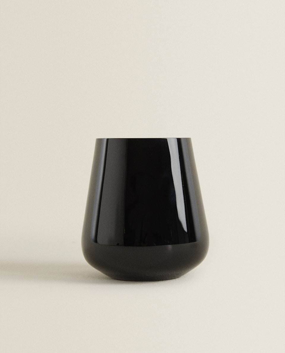 BLACK CRYSTALLINE GLASS TUMBLER