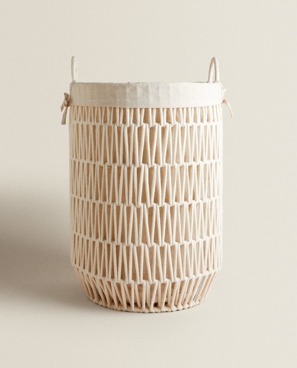 WOVEN YARN BASKET WITH FABRIC LINING
