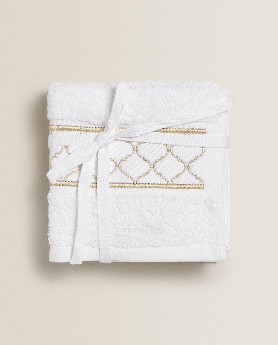 TOWEL WITH GEOMETRIC EMBROIDERY (PACK OF 3)