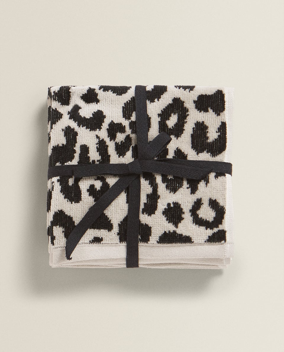 LEOPARD PRINT COTTON TOWEL (PACK OF 3)