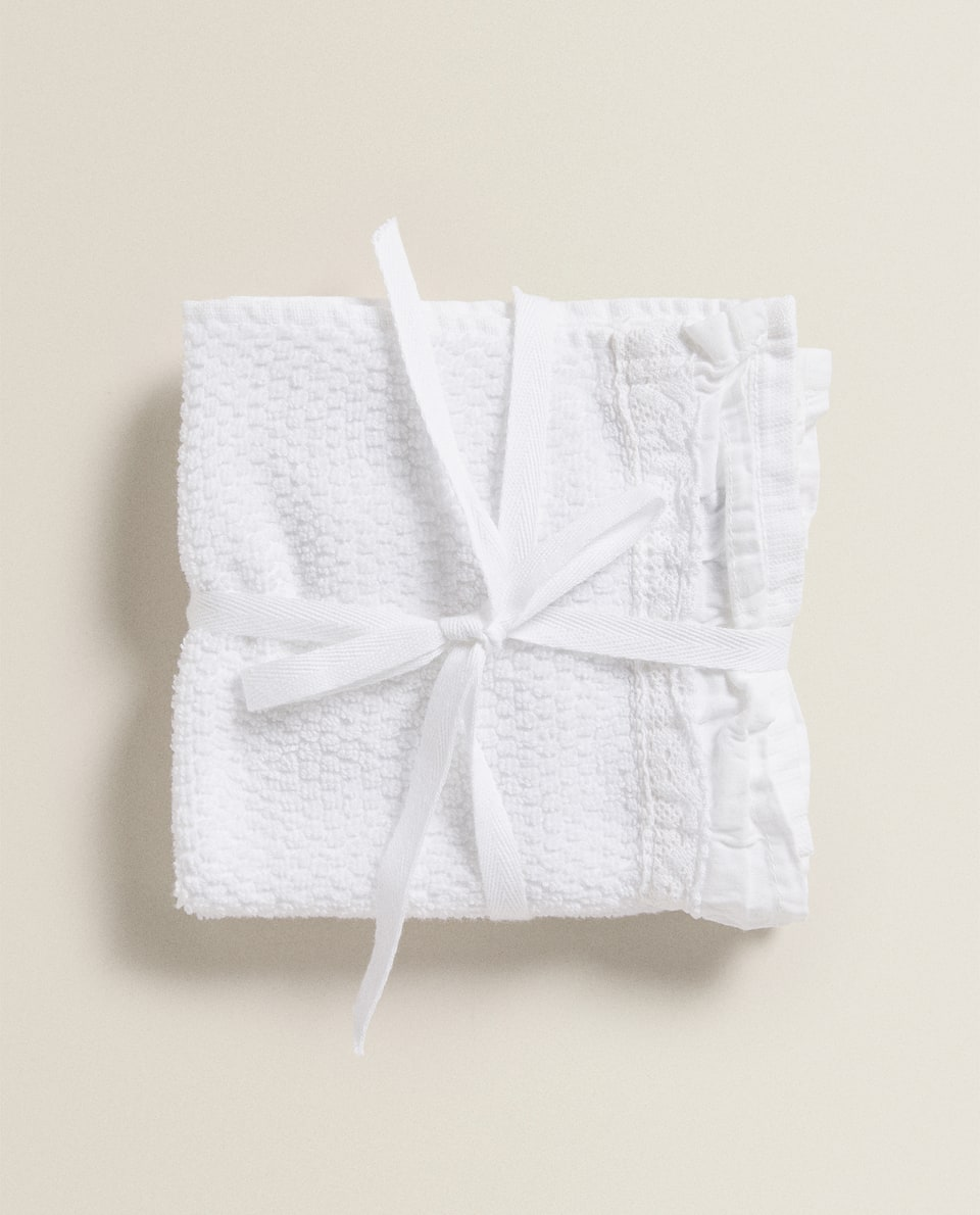JACQUARD TOWEL WITH LACE TRIM (PACK OF 2)