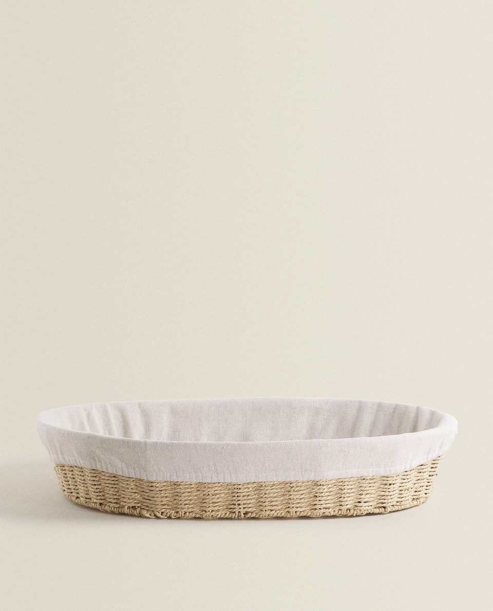 OVAL FABRIC-LINED BASKET