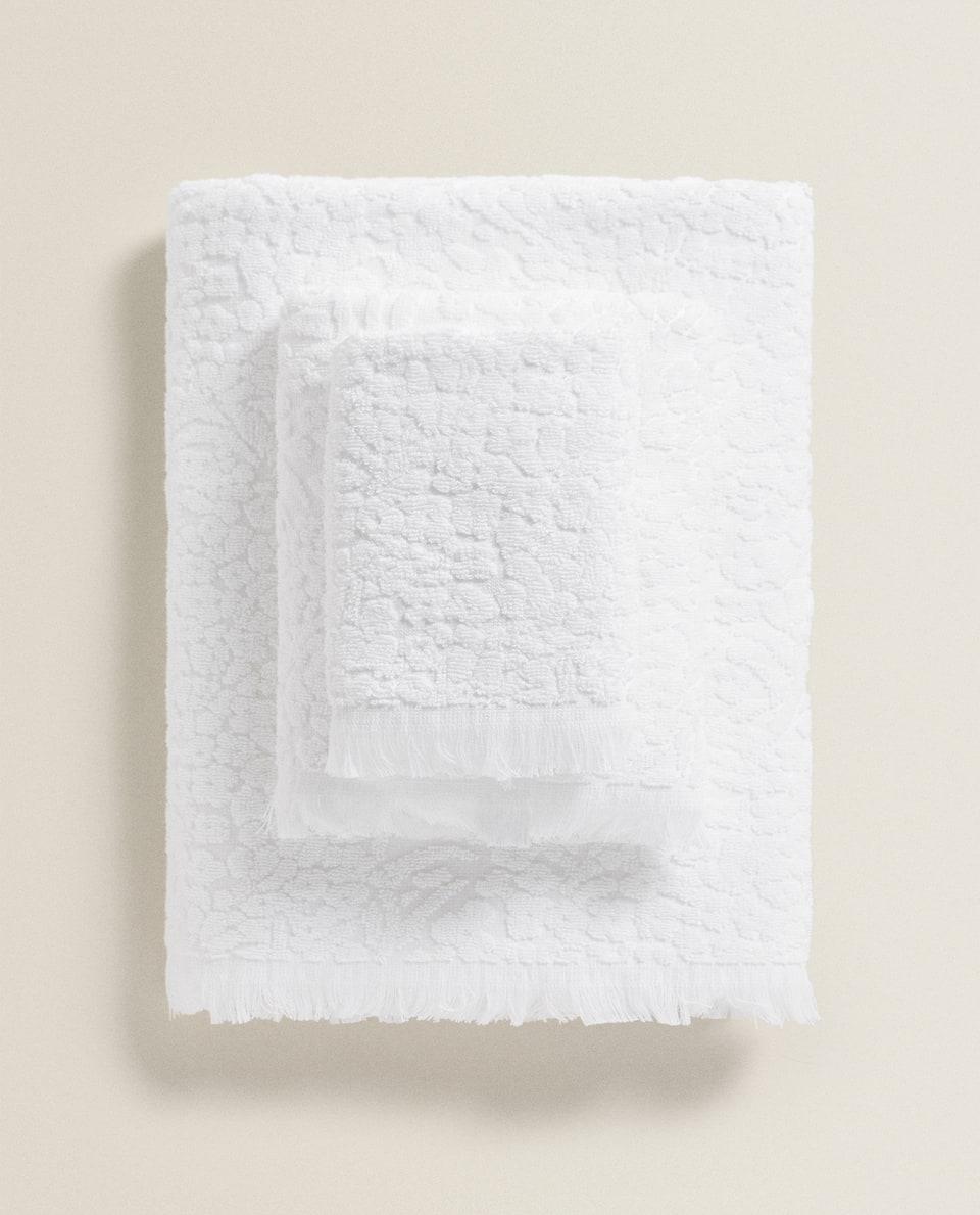 フラワー柄ジャカード織り タオル