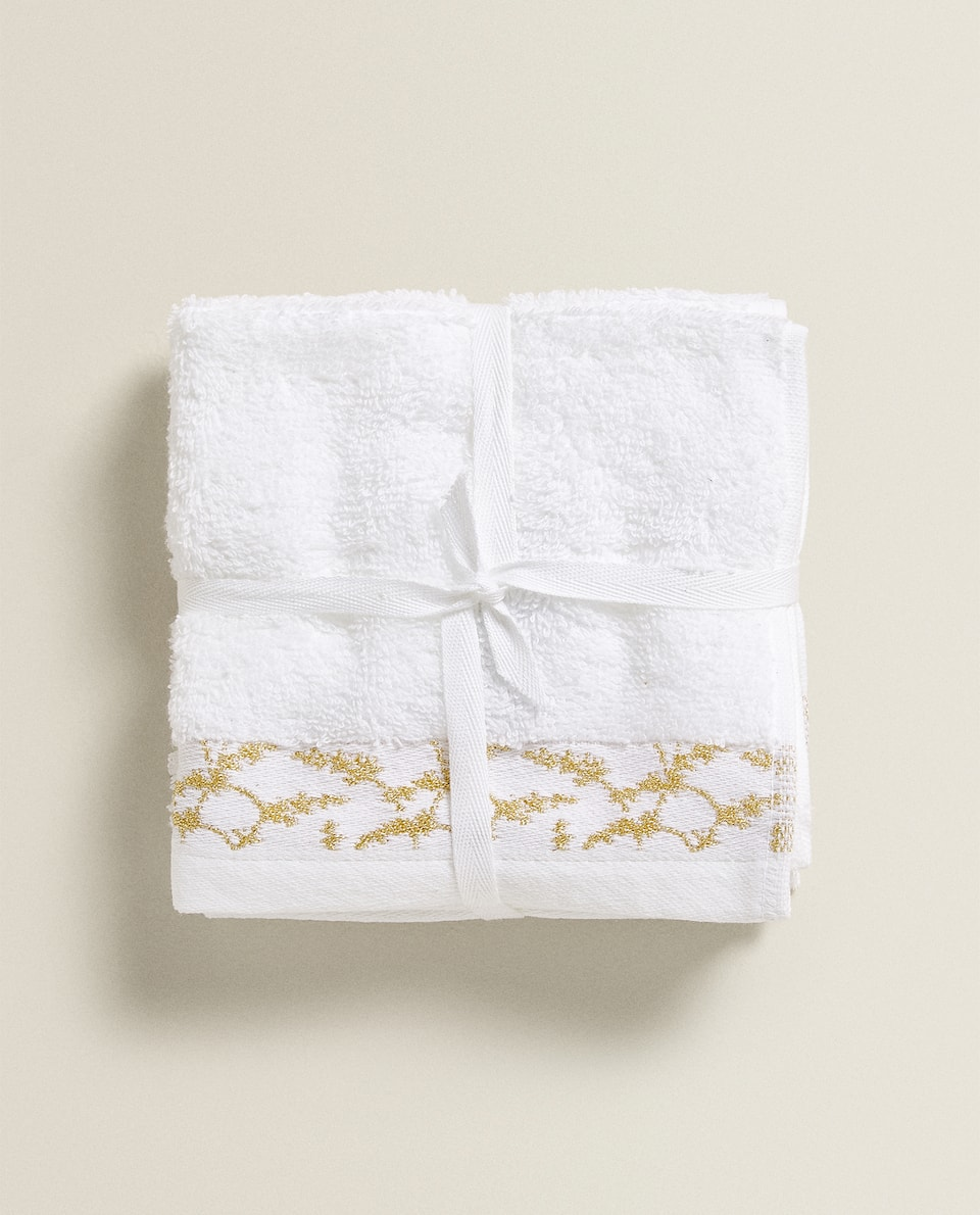 SERVIETTE DE BAIN BORDURE FLORALE (LOT DE 3)