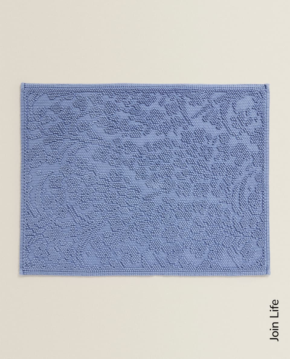BATH MAT WITH RAISED FLORAL DESIGN