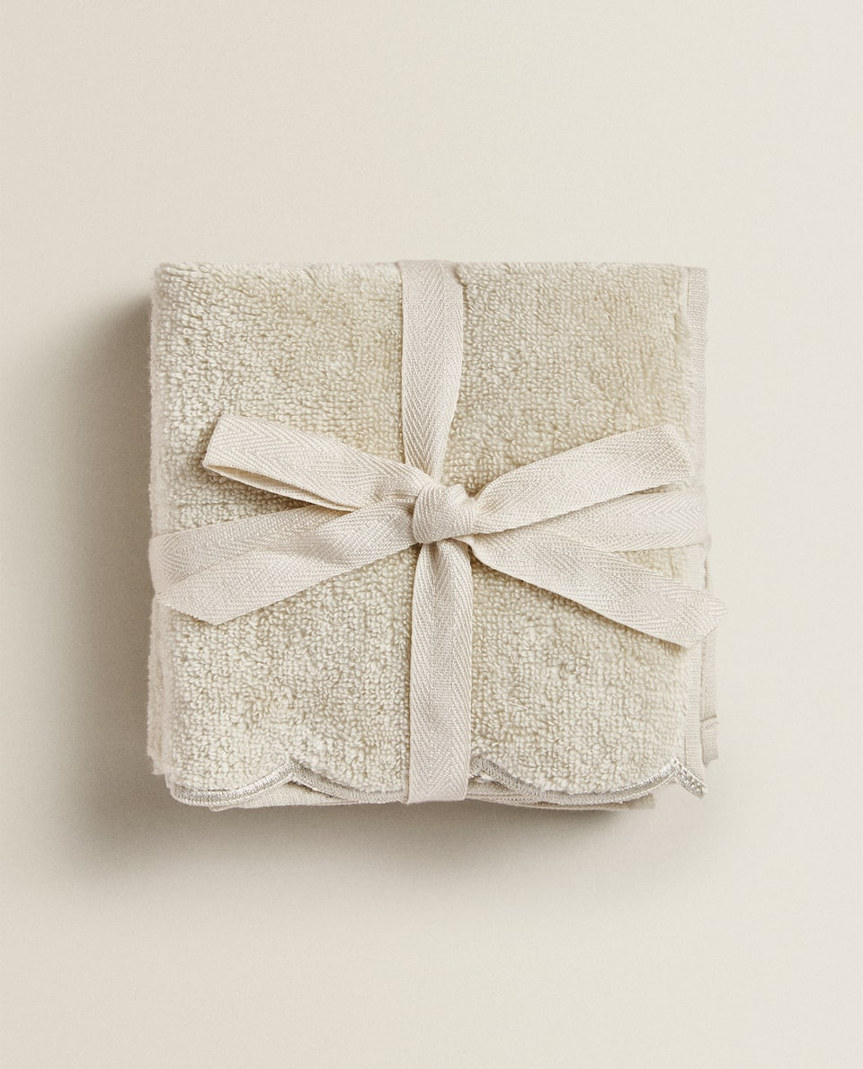 SCALLOPED COTTON TOWEL (PACK OF 3)