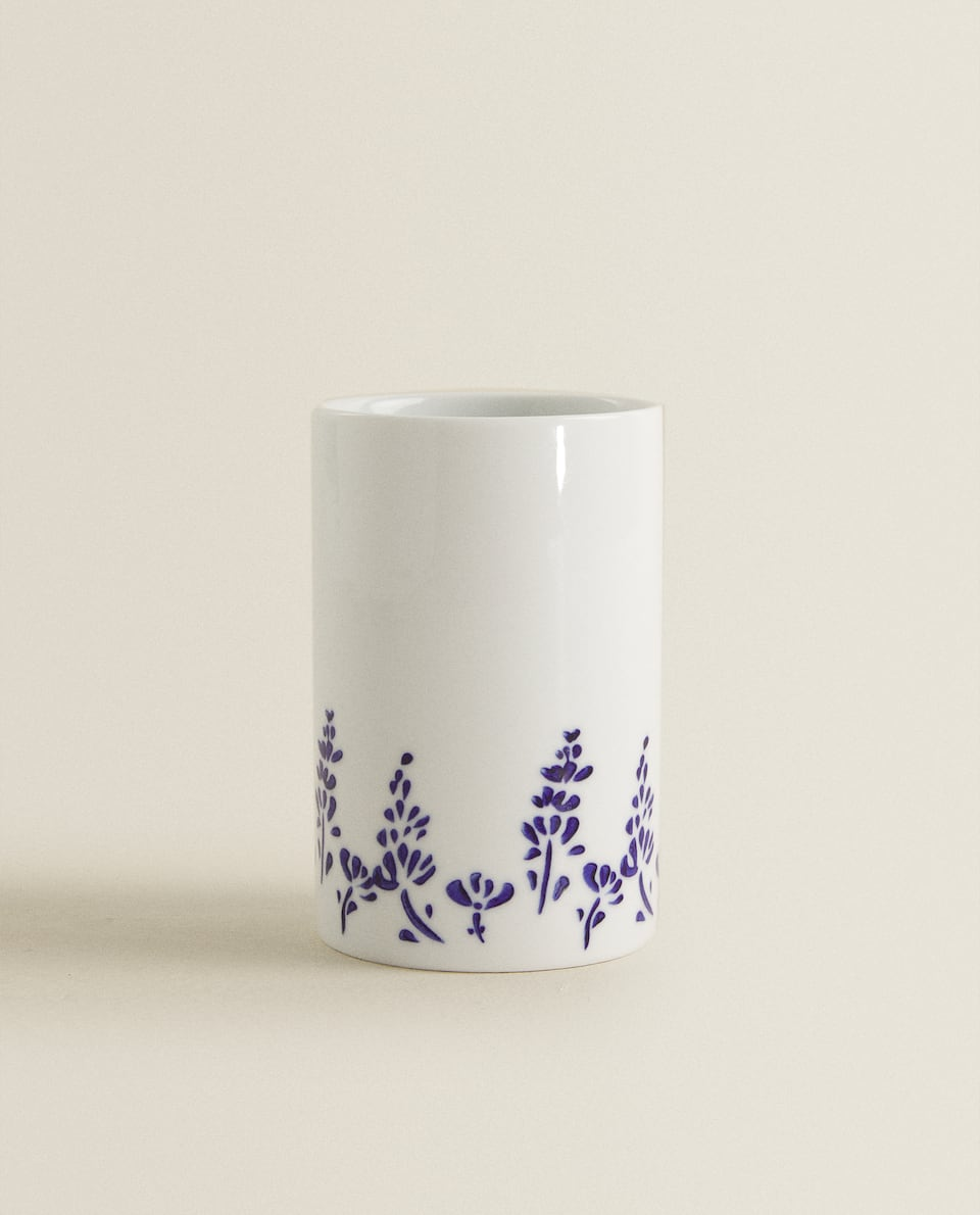 CERAMIC TUMBLER WITH BLUE DETAIL