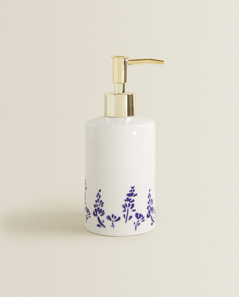 CERAMIC DISPENSER WITH BLUE DETAIL