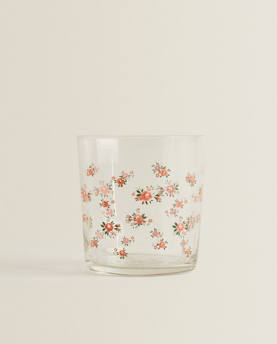 FLORAL TRANSFER GLASS TUMBLER