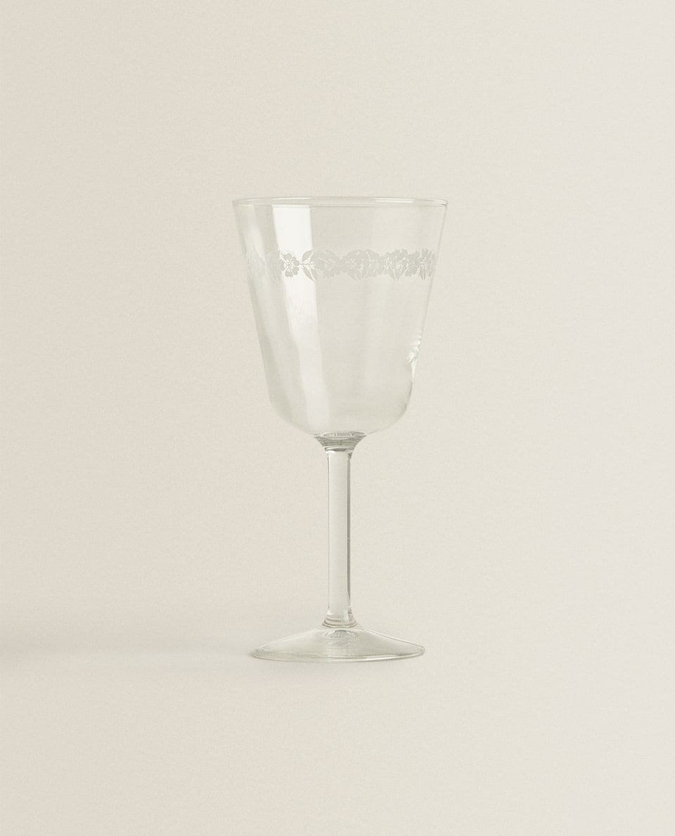 FLORAL TRANSFER WINE GLASS