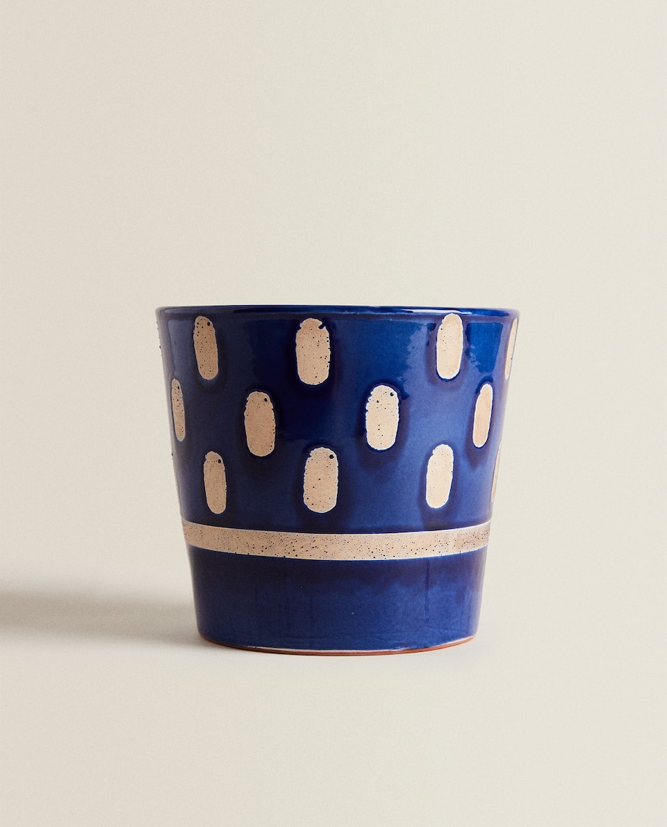 BLUE DECORATIVE FLOWERPOT