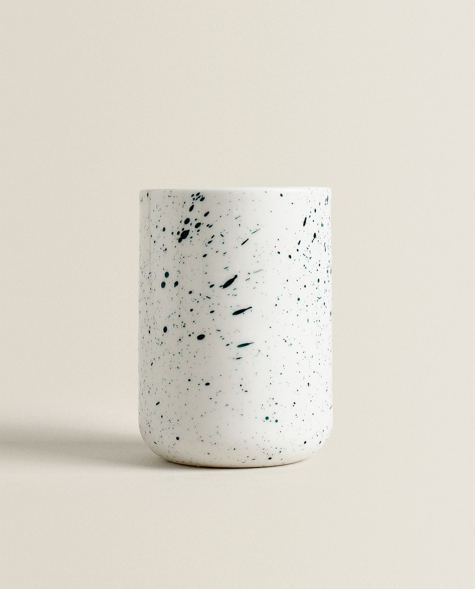 MOTTLED GREEN CERAMIC TUMBLER