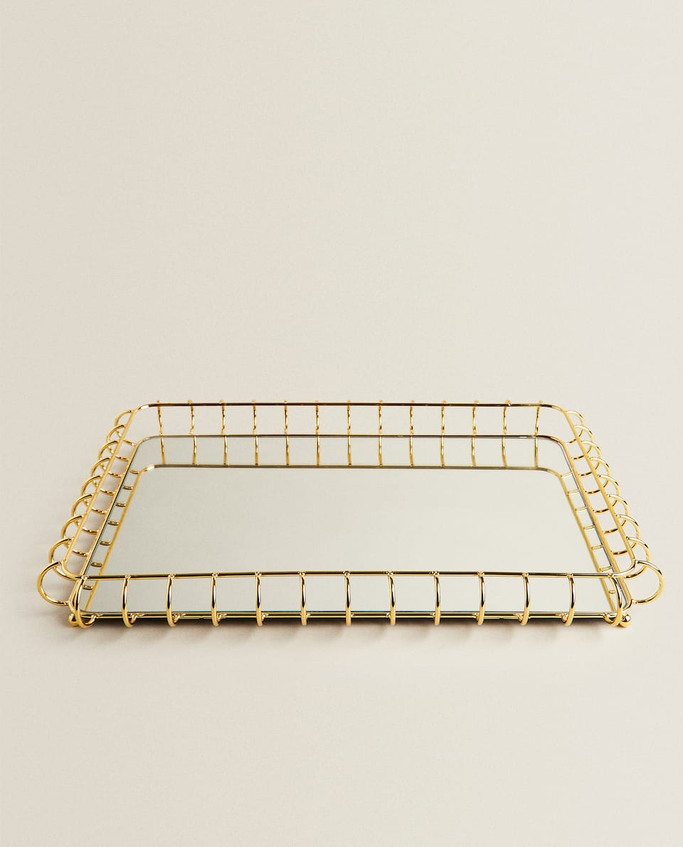 METAL AND MIRROR TRAY