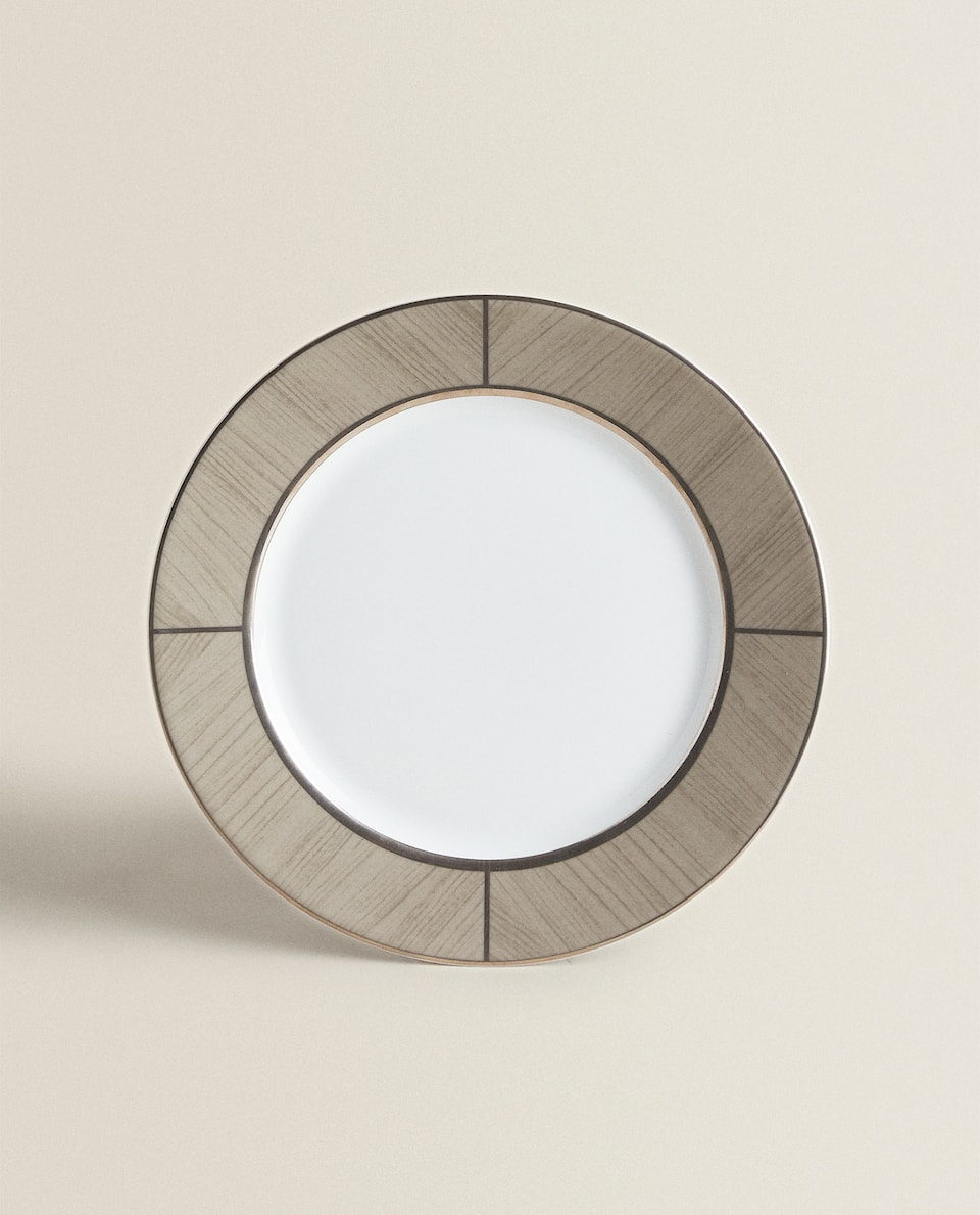 GOLD-RIMMED DINNER DISH WITH BROWN BORDER