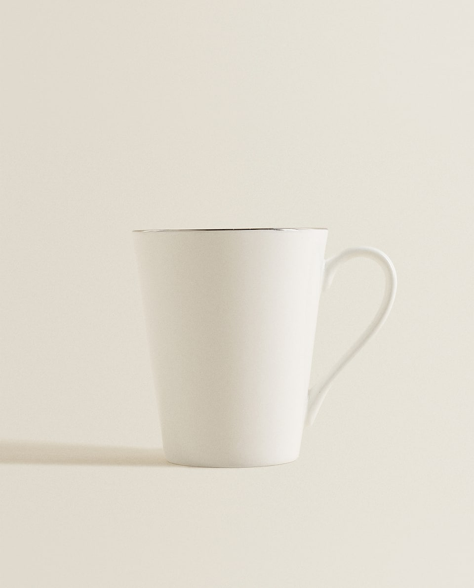 PORCELAIN MUG WITH SILVER RIM