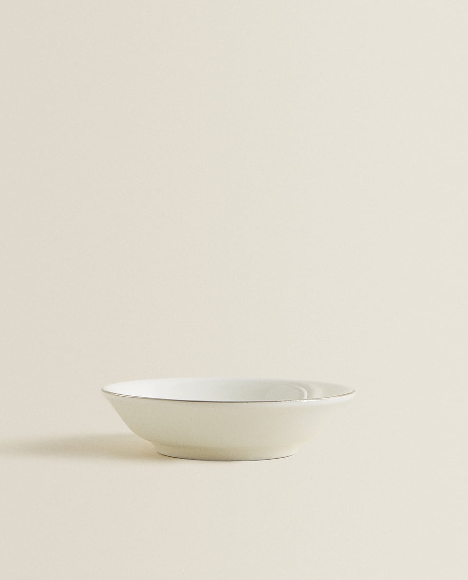 PORCELAIN MINI BOWL WITH SILVER RIM